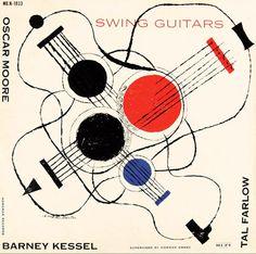 Album cover by David Stone Martin, 1955, Swing Guitars: Oscar Moore / Tal Farlow…
