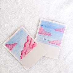 Handpained watercolor POLAROID. Cute pink and blue. 300gsm paper.