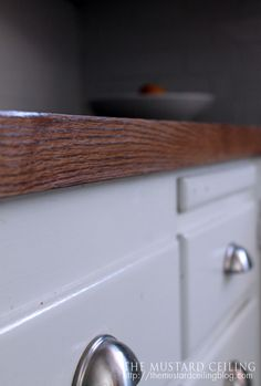 Kitchen countertops made from solid wood doors (Habitat for Humanity ReStore!) If it is a solid, flat front door! Kitchen Redo, Kitchen Remodel, Kitchen Ideas, Kitchen Inspiration, My Home Design, House Design, Habitat For Humanity Restore, Habitat Restore, Kitchen Countertops
