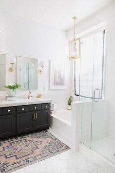 Sharing a before and after of our Modern Master Bathroom Remodel and how we designed and achieved a modern bathroom remodel. Modern Master Bathroom, Boho Bathroom, Modern Bathroom Design, Bathroom Interior Design, White Bathroom, Small Bathroom, Bathroom Ideas, Bathroom Bin, Bathroom Goals