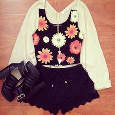 high wasted shorts, floral crop, cardigan