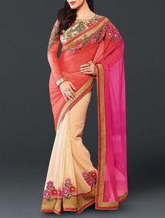 Classy Pink-Cream Fancy Embroidered Chiffon Saree