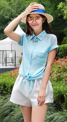 Fashiontroy  Hipster & indie short sleeved shirt collar blue tie-front cotton blend shirt