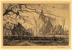 Kerk aan de Torenlaan Blaricum. Toon de Jong 1905. Dutch Painters, Painting & Drawing, Shadows, Holland, Paintings, Drawings, Prints, Art, Shop Signs