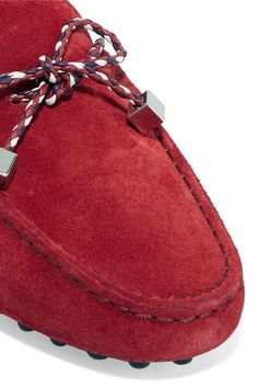 Tod's - Gommino Leather-trimmed Suede Loafers - Red