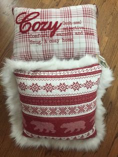 (2) ACCENT PILLOWS for Max Studio & White Pine Plaid Rustic HolidayBedding #WhitePine