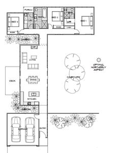 Callisto | Home Design | Energy Efficient House Plans | Green Homes Australia - this one is about 1300 sq ft, northern deck for summer, garage close to main entry