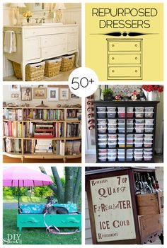 50+ ways to repurpose old dressers #DIY #HomeDecor @Andria Lo Lo Lo Zutich do you remember making fun of me for having so  many dressers?! ...but they're so handy!!! :P