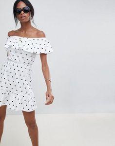 ASOS DESIGN off shoulder sundress with tiered skirt in polka dot