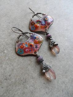Floral Fantasy ... Artisan-Made Enameled Copper Glass