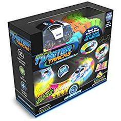 Great Christmas Toy for Ages Year old boys and girls. Fun to watch these light up cars go! Bright and exciting! Mindscope Twister Tracks Neon Glow in the Dark 221 Piece feet) of Flexible Assembly Track Race Series. Lights And Sirens, Neon Licht, Play Vehicles, Kids Electronics, Possible Combinations, Cars Series, Neon Glow, Bahn, Car Lights