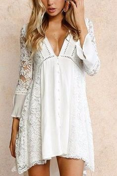 White V-Neck Button Accent Lace Pattern Sleeve High Low Dress