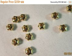 Weekend Sale - 8x5mm, Star-shaped Metal Beads, Gold Plated over Brass - 10 beads or, choose a larger pkg from the 'Options' menu - Flat Rate - pinned by pin4etsy.com