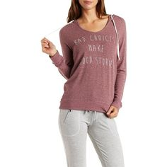 Charlotte Russe Oxblood Marled Graphic V-Neck Hoodie by Charlotte... ($20) ❤ liked on Polyvore featuring tops, hoodies, oxblood, red sweatshirt, sweatshirt hoodie, sweat shirts, pullover hoodie sweatshirt and graphic sweatshirts