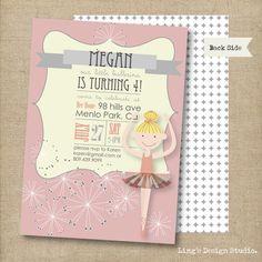 Little ballerina birthday invitation set  by LingsDesignStudio, $17.00