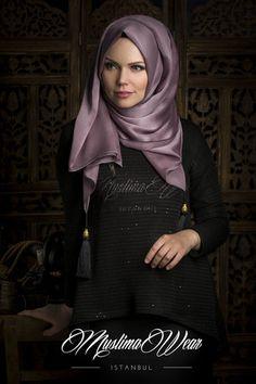 Chiffon Scarf hijab Trend Vizon Color with silk tassel.   US Muslima Wear