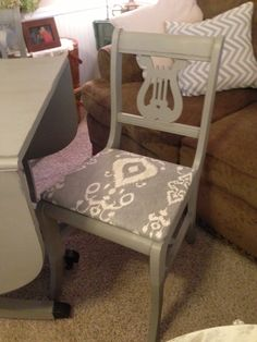 Lyre back chairs. Annie Sloan French Linen, distressed, clear waxed, & recovered seats.