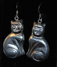 Vintage Seated Cat Puffy Flat Backed French Wire Earrings #BKC-KERNG93 by BadKittyCrafts on Etsy