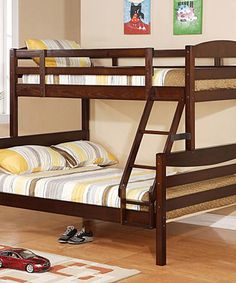 This Brown Twin-Over-Full Solid Wood Bunk Bed by Walker Edison is perfect! #zulilyfinds