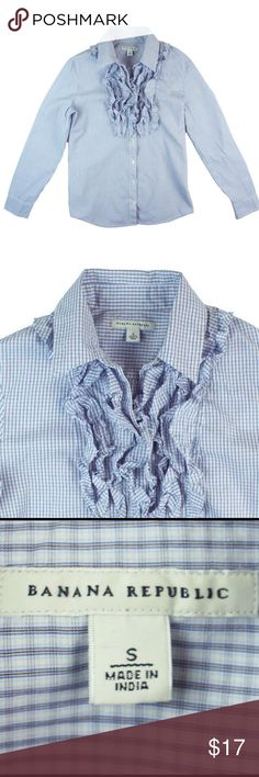 """BANANA REPUBLIC Blue Plaid Ruffle Front Shirt Excellent condition. This blue plaid shirt from Banana Republic features button closures and ruffle accent detail in front. Made of 100% cotton. Measures: Bust: 36"""", Total length: 23"""", Sleeves: 24"""" Banana Republic Tops Button Down Shirts"""