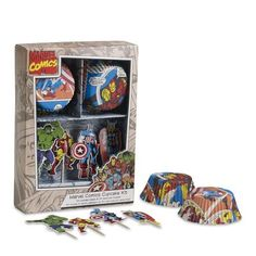 Williams-Sonoma. Superhero cupcake wrappers? Spiderman Comic Book cookies? Superhero cakes and cookies? Yes. Yes please.