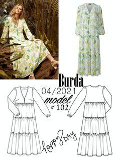 Sukienka z falbanami uszyta z wykroju Burda 4/2021 Burda Patterns, Model, Scale Model, Models, Template, Pattern, Mockup, Modeling