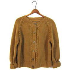 Vintage 60s Cable Knit Cardigan Sweater Button Up Mustard Brown Boxy Raglan Sleeves 1960s Boho Preppy Sweater Large XL