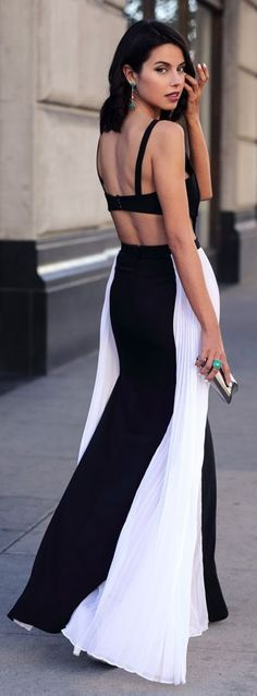 #summer ##backless #outfits | Black And White Backless Domino Gown