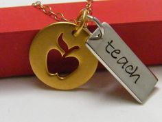 school teacher necklace apple charm and hand stamped word tag sterling silver. $59.00, via Etsy.