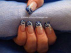 Nail art motivo 281 - Motivo de ornamento con piedras strass - http://www.schmucknaegel.de/