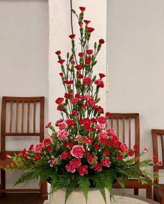 Tropical Flower Arrangements, Flower Arrangement Designs, Funeral Flower Arrangements, Beautiful Flower Arrangements, Beautiful Flowers, Gladiolus Arrangements, Alter Flowers, Church Flowers, Funeral Flowers