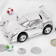 Personalised Racing Car Money Box - Sterling Silver Piggy Bank - Gifts For Kids - Children's Birthday - Christening Present - Baptism Gifts Birthday Gifts For Kids, Gifts For Boys, Boy Birthday, Christening Present, Baptism Gifts, Personalised Money Box, Personalized Gifts, Silver Money Box, New Baby Gifts