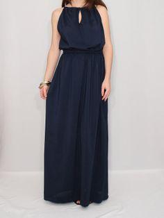 Navy Chiffon Bridesmaid Dress Maxi Dress Party Dress by KSclothing, $30.00