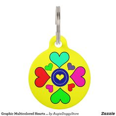 Shop Graphic Multicolored Hearts Custom Pet Name Tag created by AugieDoggyStore. Pet Name Tags, Pet Id Tags, Dog Tags, Custom Pet Tags, Pet Names, Your Design, Your Pet, Great Gifts, Stationery