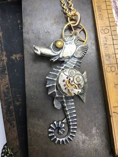 Seahorse watch works necklace Handcrafted by VictorianMagpie