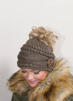 Messy Bun Hat Beanie Ponytail Beanie Messy Bun Hat CHOOSE COLOR Taupe Brown  Braided Ponytail Hat Beanie with hole Christmas Gift under 50 f893035b6f87