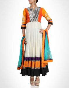 White anarkali  with embroidery on the sleeves. Shop Now: www.kimaya.in