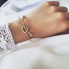 gold nail knot bracelet