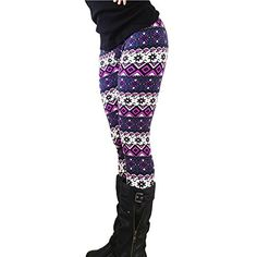 Ensasa Womens Autumn Winter Snowflake Graphic Printed Stretchy Leggings Pants at Amazon Women's Clothing store: