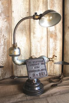 Vintage Industrial Style Table Lamp, Repurposed Plumping, Rustic Coffee Shelf Eclectic Lamp, Steampunk Lighting
