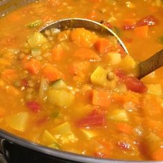 French Green Lentil and Roasted Kabocha Soup
