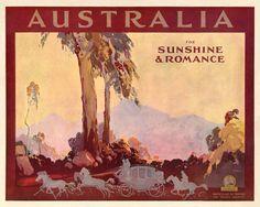 Australia for Sunshine and Romance by James Northfield - http://www.australianvintageposters.com.au/shop/australia-for-sunshine-and-romance-by-james-northfield/