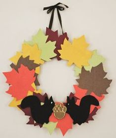 fall arts and crafts for kids   this colorful leaf wreath to celebrate autumn. This craft for kids ...