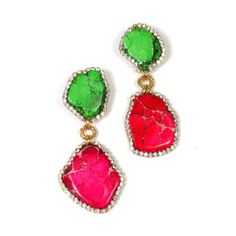 Statement Earrings Colorful Organic Gemstone door EzzaExclusive, $115.00