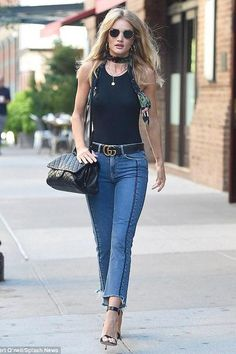 Rosie Huntington-Whiteley wearing Gianvito Rossi Portofino Patent Leather Sandals, Neil Lane Cushion Cut Diamond and Platinum Engagement Ring, Ariel Gordon Medallion Signet Necklace, Ray-Ban Rb3548 Hexagonal Flat Lens Sunglasses, Celine Circular Earrings in Brass, Chanel Flap Bag with Top Handle, Gucci Leather Belt, Anita Ko 18-Karat Rose Gold Diamond Ring and Rockins Magic Meadow-Print Super-Skinny Silk Scarf