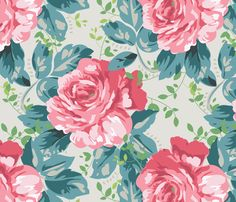 Carefree Roses fabric by clair_bremner on Spoonflower - custom fabric