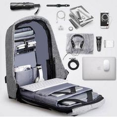 Get Discount Multifunction USB charging Men Laptop Backpacks For Teenager Fashion Male Mochila Leisure Travel backpack Anti Theft Bag