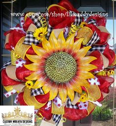 Bright Red Sunflower Mesh Wreath by lilmaddydesigns on Etsy, $95.00