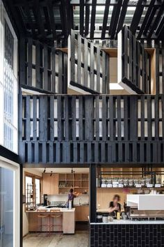 Pallets used to define interior space in the Industry Beans café, Australia