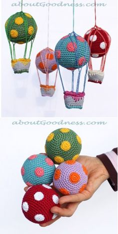 Hot Air Balloons or juggling balls, free crochet pattern